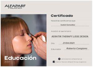 Alfaparf Milano Certificado- Keratin Therapy Lisse Design